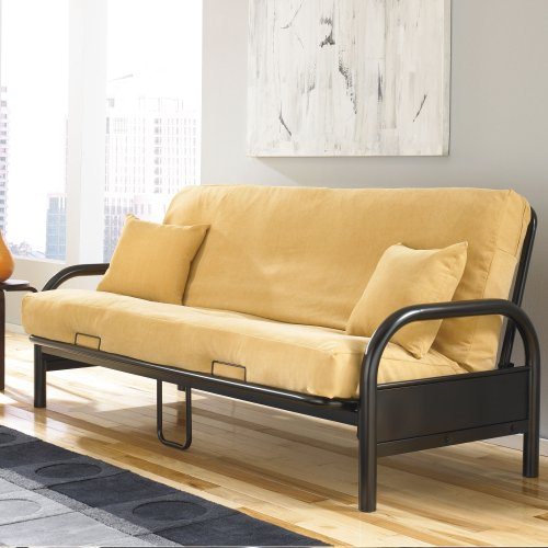 Saturn Adjustable Metal Futon with Industrial Frame, Black Finish, Full