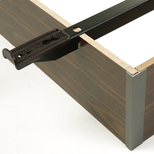 "Pedestal Q-20 Bed Base with 10"" Walnut Laminate Wood Frame and Center Cross Slat Support, Queen"