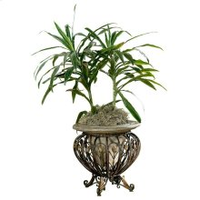Made of cast stone set in a metal base. Suitable for displaying live plants.