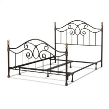 Dynasty Complete Metal Bed and Steel Support Frame with Camelback Arches and Soft Gold Highlighted Castings, Autumn Brown Finish, Queen