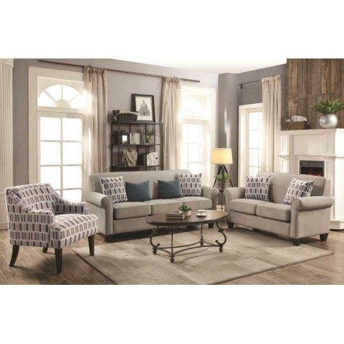 Gideon Transitional Cement Three-piece Living Room Set