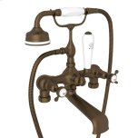 English Bronze Perrin & Rowe Exposed Tub Filler With Handshower With Edwardian Cross Handle