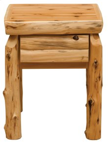 Cedar One Drawer Nightstand - Half Log Drawer Front - Traditional Cedar