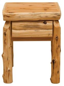 Cedar One Drawer Nightstand - Half Log Drawer Front - Traditional Cedar