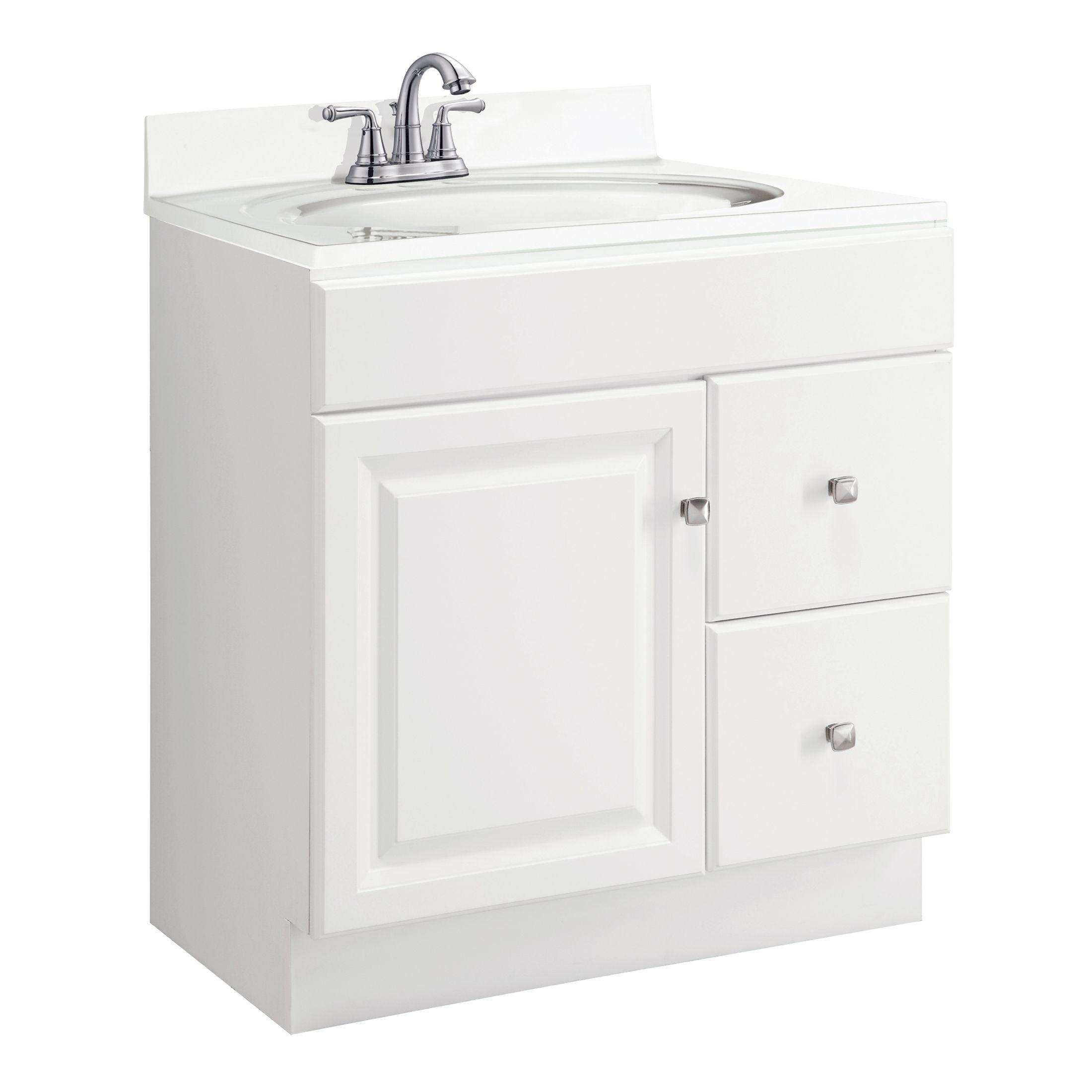 """Wyndham 1-Door 2-Drawer Vanity Cabinet 30"""", White #545061"""