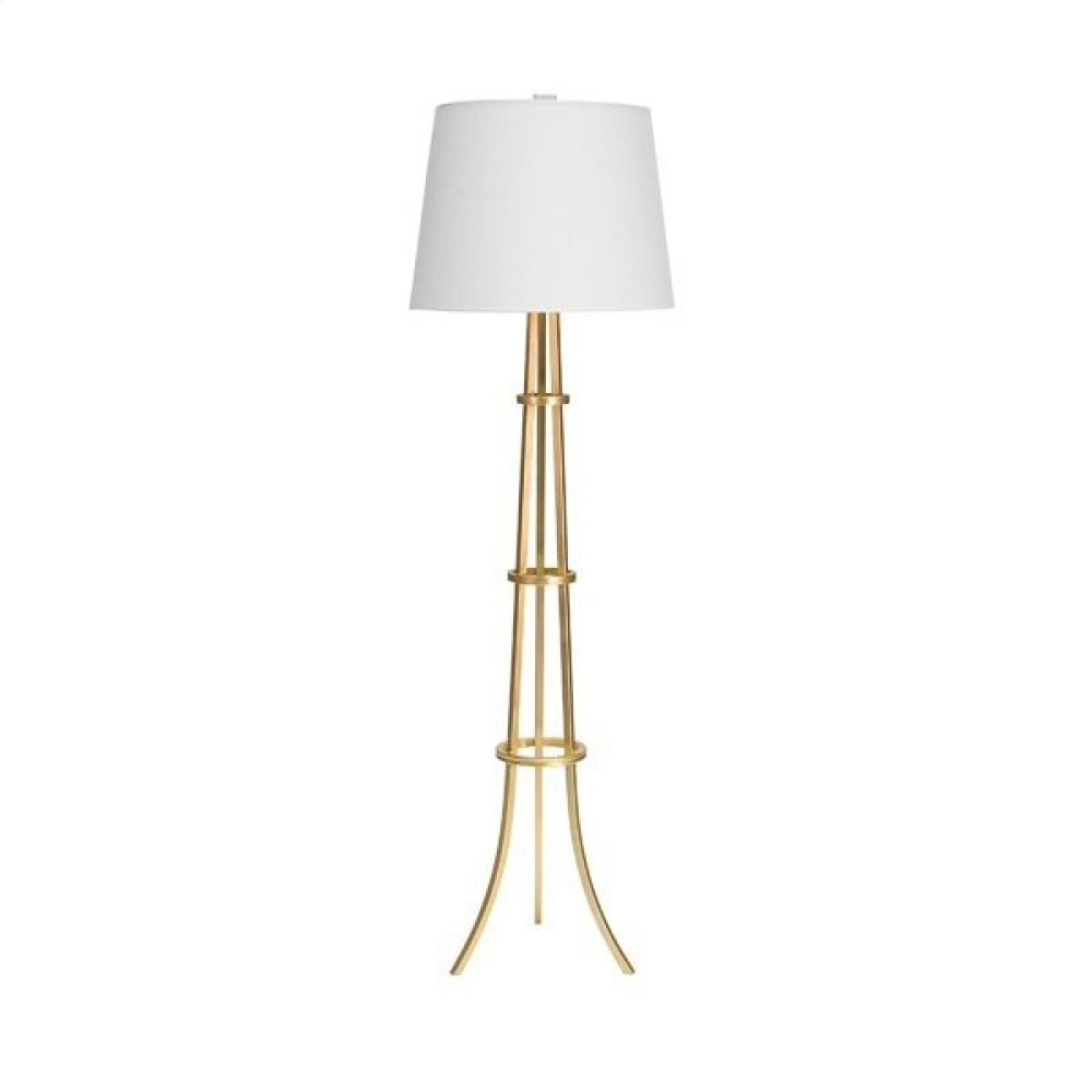 "Three Leg Floor Lamp With Rings In Gold Leaf With 16"" Diameter White Linen Shade Uses One 60 Watt Bulb"
