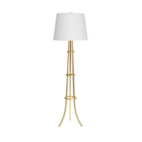 """Three Leg Floor Lamp With Rings In Gold Leaf With 16"""" Diameter White Linen Shade Uses One 60 Watt Bulb"""