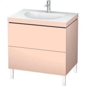 Furniture Washbasin C-bonded With Vanity Floorstanding, Apricot Pearl Satin Matt Lacquer