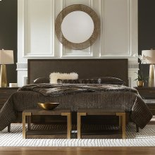 Queen/Cacao Brown / Caviar Shagreen MODERN Emilia Panel Bed