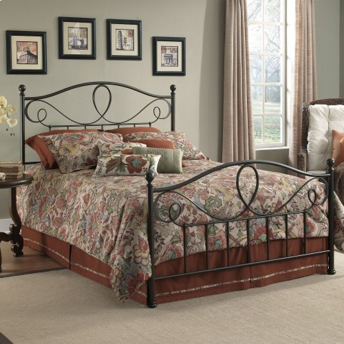 Sylvania Complete Bed with Metal Curved Grill Design and Canopy Compatibility, French Roast Finish, Queen