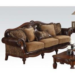 Bonded Leather/chenille Sofa