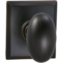 Interior Traditional Egg-shaped Knob Latchset with Rectangular Rose- Solid Brass in (TB Tuscan Bronze, Lacquered)