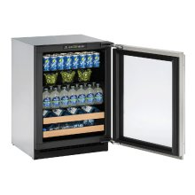 """2000 Series 24"""" Beverage Center With Stainless Frame Finish and Field Reversible Door Swing (115 Volts / 60 Hz)"""