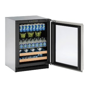 """U-Line2000 Series 24"""" Beverage Center With Stainless Frame Finish and Field Reversible Door Swing (115 Volts / 60 Hz)"""
