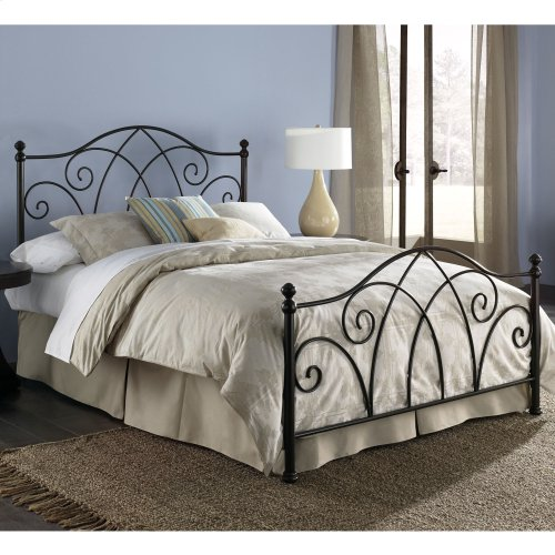 Deland Complete Bed with Curved Grill Design and Finial Posts, Brown Sparkle Finish, Full