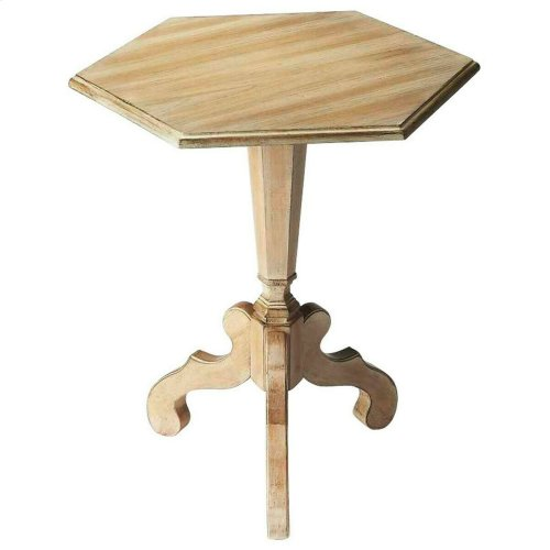 This distinctive accent table will stylishly enhance your space. Featuring a Driftwood Finish, it is hand crafted from rubberwood solids, mdf, cherry veneer.