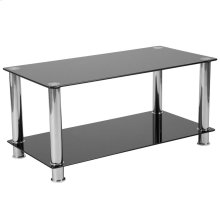 Black Glass Coffee Table with Shelves and Stainless Steel Frame