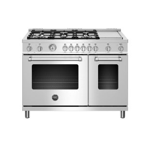 BERTAZZONI48 inch Dual Fuel Range, 6 burners and Griddle, Electric Oven Stainless Steel