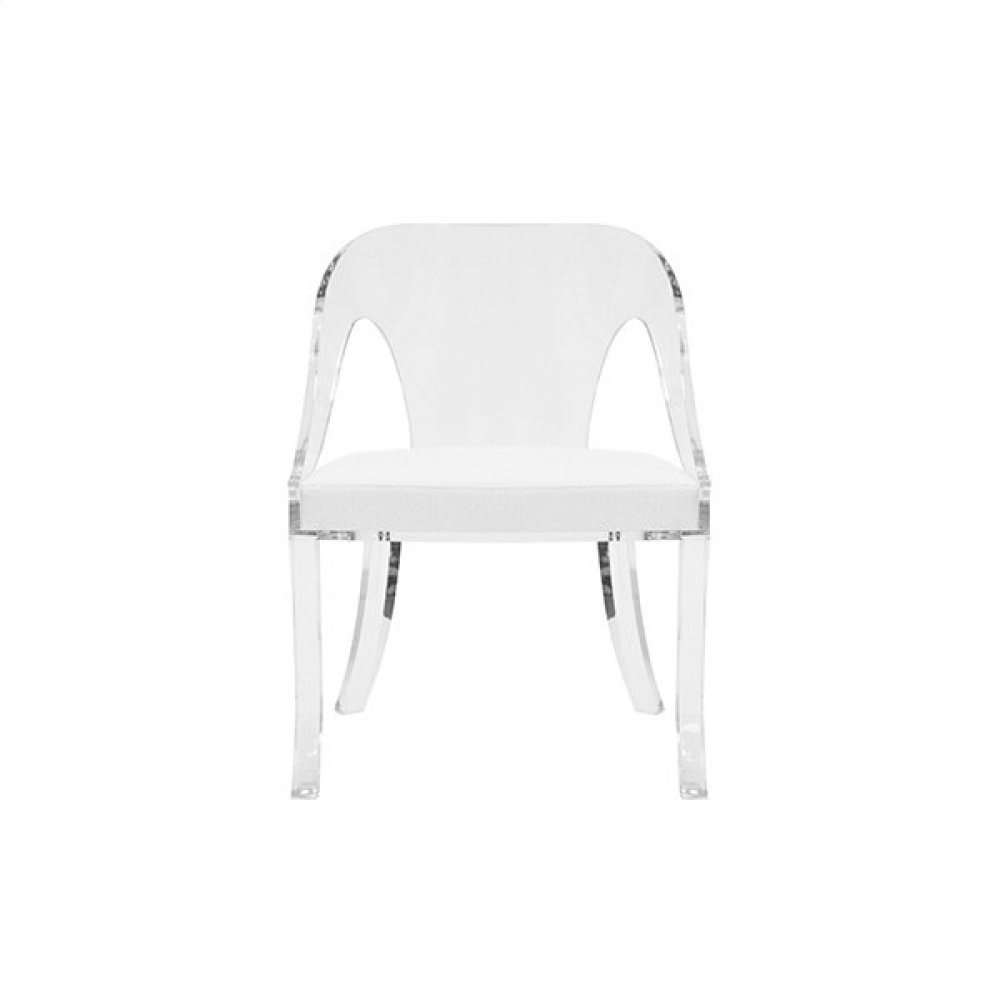 """Round Back Acrylic Chair With White Linen Cushion Seat Height: 17.5"""""""