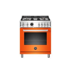 Bertazzoni30 inch Dual Fuel Range, 4 Brass Burner, Electric Self-Clean Oven Orange