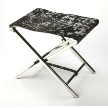 Sit back and relax with this silver and black finished hair on hide treasure. Cozy up in comfort in your modern living room, home office or any open space. Simply fold to close the high polish; stainless steel X frame to simply tuck away. To add luxury to