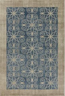 """Libby Langdon Winston 5810 Teal Looking Glass 2'2"""" X 7'6"""" Runner"""
