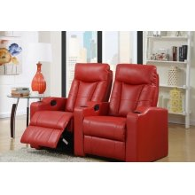 Camden Red Bonded Leather 2-Piece Reclining Theater Set