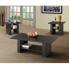 Contemporary Black Oak Three-piece Table Set