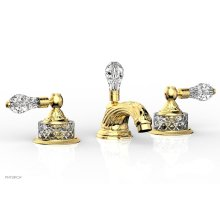 LOUIS XIV CUT CRYSTAL Widespread Faucet Cut Crystal Lever Handles K180 - Polished Gold