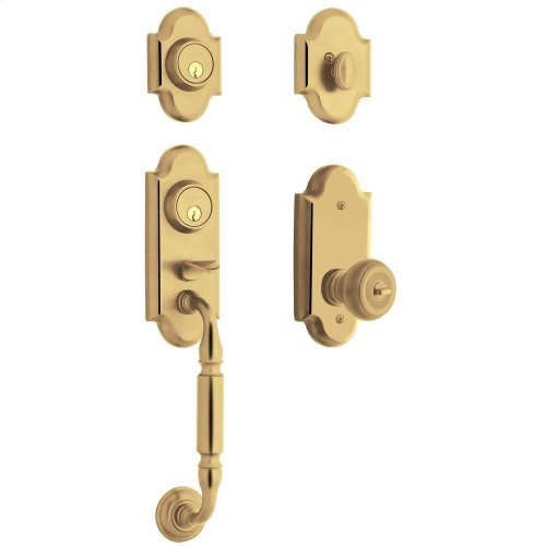 Non-Lacquered Brass Ashton Two-Point Lock Handleset