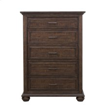 Paneled Wooden 5 Drawer Chest