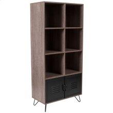 Rustic Wood Grain Finish Storage Shelf with Metal Cabinet Doors and Black Metal Legs