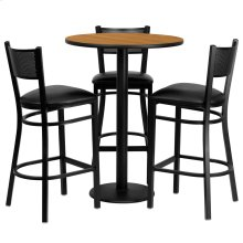 30'' Round Natural Laminate Table Set with 3 Grid Back Metal Barstools - Black Vinyl Seat