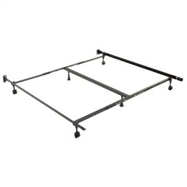 "Restmore Adjustable PLK45R Posi-lock Bed Frame with Fixed Headboard Brackets and (4) 2"" Locking Rug Roller Legs, Powder Coat Finish, Queen - King"