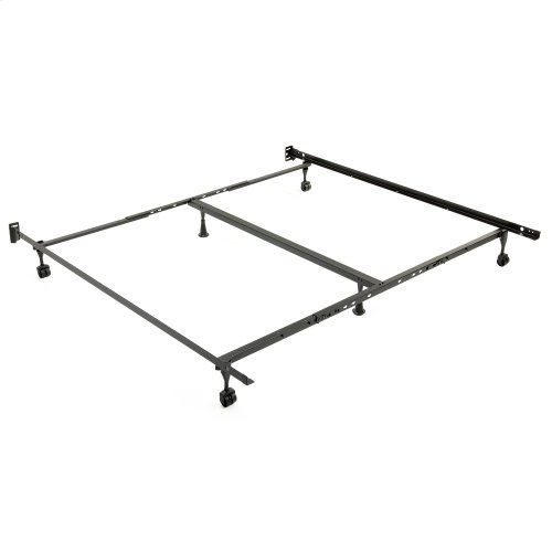 """Restmore Adjustable PLK45R Posi-lock Bed Frame with Fixed Headboard Brackets and (4) 2"""" Locking Rug Roller Legs, Powder Coat Finish, Queen - King"""