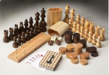 Complete set of game pieces including carved wood chess set, checkers, cribbage set and deck of cards. Perfect for use with any Butler game table.