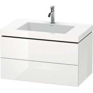 Furniture Washbasin C-bonded With Vanity Wall-mounted, White High Gloss Lacquer