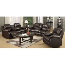 Kaden Brown Bonded Leather Reclining Sofa with Drop-Down Console