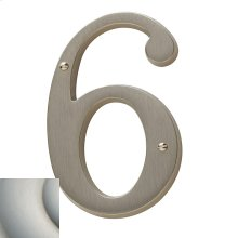 Satin Nickel with Lifetime Finish House Number - 6