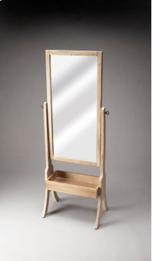 This contemporary Driftwood finished cheval mirror will beautifully compliment any bedroom or dressing area. Featuring a swivel-tilt design, this full-length mirror can easily be set to the desired angle by adjusting the antique brass finished thumbscrews