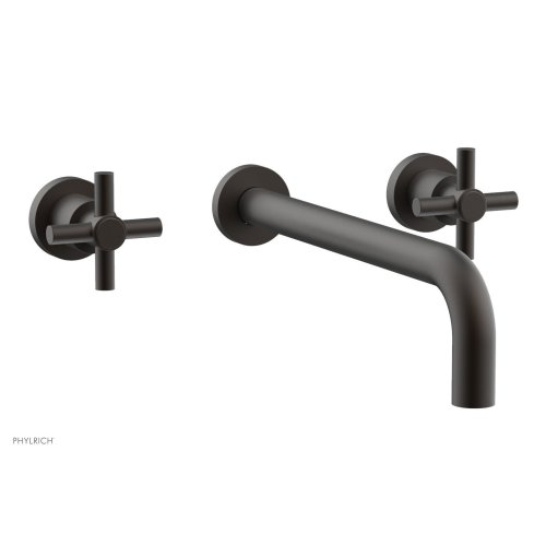 "Basic Wall Tub Set 12"" Spout - Tubular Cross Handles D1134-12 - Oil Rubbed Bronze"