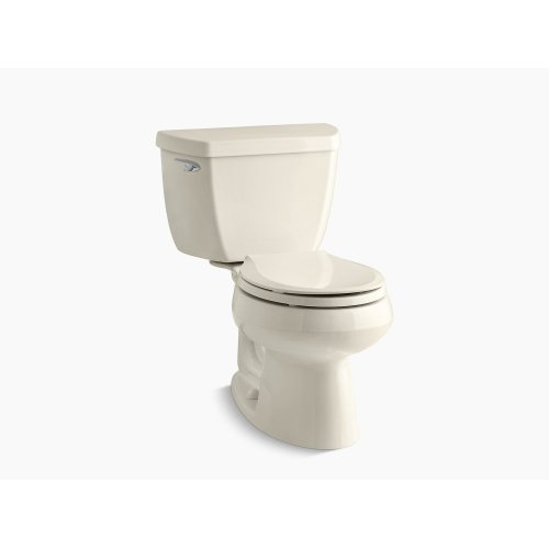 Almond Two-piece Round-front 1.28 Gpf Toilet With Class Five Flush Technology and Left-hand Trip Lever, Seat Not Included