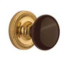 Nostalgic - Single Dummy Knob - Rope Rosette with Brown Porcelain Knob in Unlacquered Brass