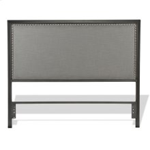 Normandy Metal Headboard with Steel Gray Upholstery and Nail head Trim, Distressed Charcoal Finish, Queen