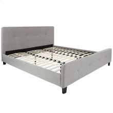 King Size Tufted Upholstered Platform Bed in Light Gray Fabric