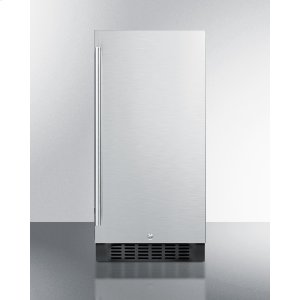 "Summit15"" Wide ADA Compliant All-refrigerator for Built-in or Freestanding Use, With Digital Controls, LED Light, Lock, and Stainless Steel Wrapped Exterior"