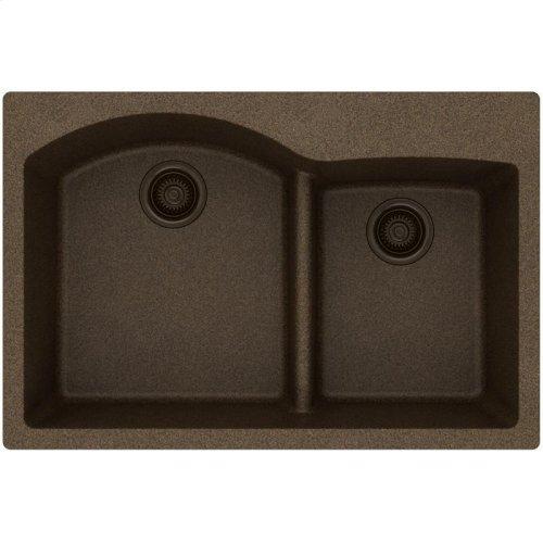 """Elkay Quartz Classic 33"""" x 22"""" x 10"""", Offset 60/40 Double Bowl Drop-in Sink with Aqua Divide, Mocha"""