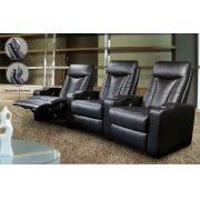 Pavillion Black Leather Three-seated Recliner Product Image