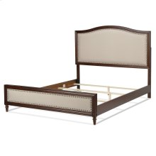 Grandover Complete Wood Bed and Bedding Support System with Cream Upholstery and Antique Brass Colored Nailhead Trim, Espresso Finish, Queen