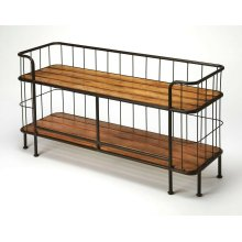 This unique rustic console table, crafted from iron and pine, can be utilized in many ways, use it in your living room to hold your television and other AV equipment or liven up your entry as a table or as a bench.